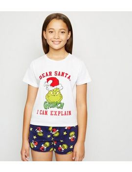 Girls White Grinch Slogan Christmas Pyjama Set by New Look