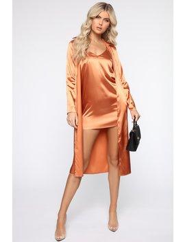 Chic Satin 2 Piece Mini Dress Set   Rust by Fashion Nova