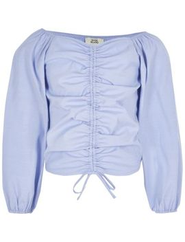 Girls Blue Ruched Long Sleeve Bardot Top by River Island