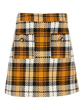 Girls Yellow Check A Line Skirt by River Island