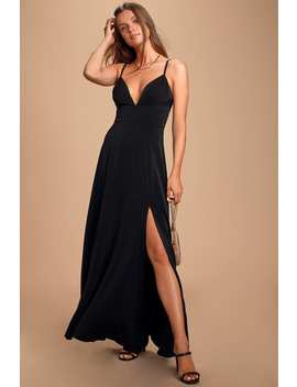 Dreaming Of Love Black Satin Maxi Dress by Lulus