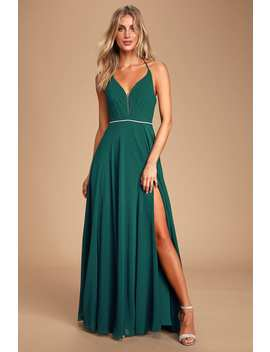 She's Gorgeous Emerald Green Rhinestone Lace Up Maxi Dress by Lulus