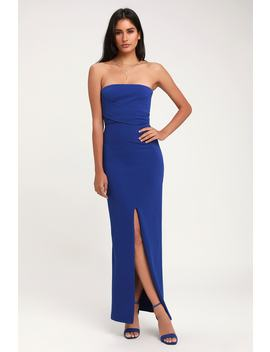 Own The Night Royal Blue Strapless Maxi Dress by Lulus