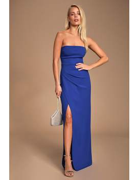 Foxy Royal Blue Strapless Maxi Dress by Lulus