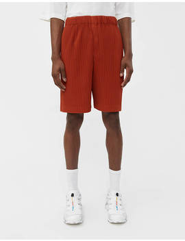 Pull On Poly Short In Paprika Red by Issey Miyake Homme Plisséissey Miyake Homme Plissé