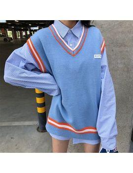 Dute   Striped Shirt / Contrast Trim Knit Vest by Dute