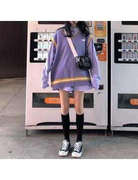 Monroll   Long Sleeve Striped Shirt / Contrast Trim Knit Vest by Monroll
