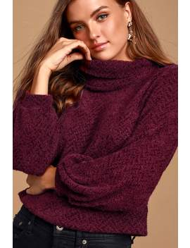 Avrina Wine Red Knit Turtleneck Cropped Sweater Top by Lulus