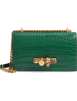 Knuckle Ring Croc Embossed Leather Crossbody Bag by Alexander Mcqueen
