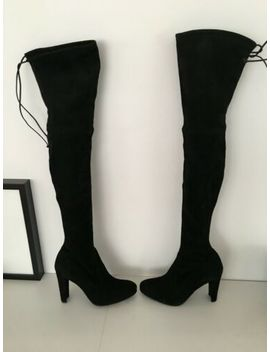 Stuart Weitzman Highland Black Suede Boots 7 Nwob by Boots