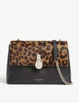 Canann Leopard Print Leather Cross Body Bag by Ted Baker
