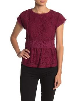 Floral Lace Crochet Trim Peplum Top by Hazel