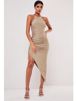 Sofia Richie X Missguided Taupe Slinky Ruched Racer Back Midi Dress by Missguided