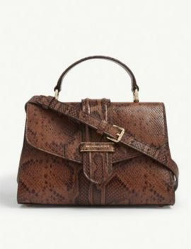 Bleecker Snakeskin Embossed Leather Shoulder Bag by Michael Michael Kors