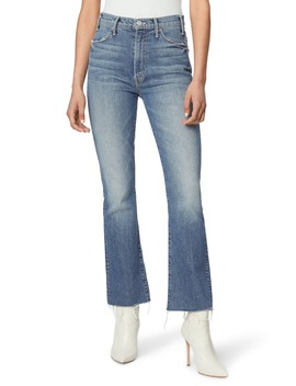 The Hustler High Waist Fray Ankle Flare Jeans by Mother