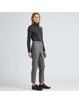 Women Ezy Glen Checked Ankle Length Trousers (L28) by Uniqlo