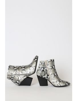 Hanston Ice White Snake Print Pointed Toe Ankle Boots by Lulu's
