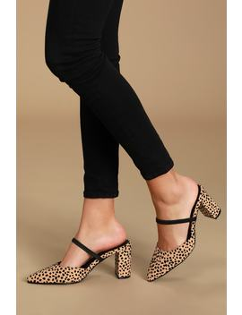 Maryna Black And Tan Cheetah Suede Pointed Toe Mules by Lulus