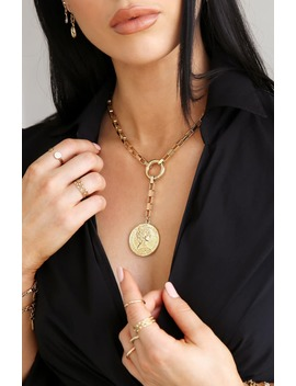 Large Coin Lariat Necklace by Ettika