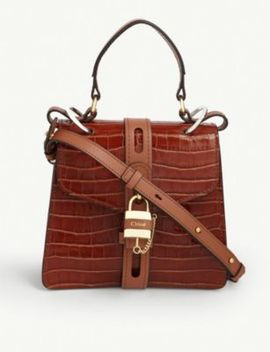 Aby Croc Embossed Leather Small Satchel by Chloe