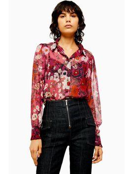 Idol Frill Poppy Floral Print Long Sleeve Shirt by Topshop