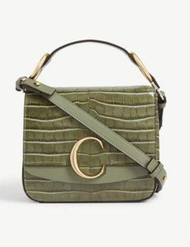C Croc Embossed Leather Shoulder Bag by Chloe