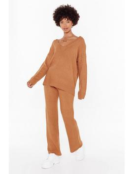 Let Knit V Sweater And Pants Lounge Set by Nasty Gal