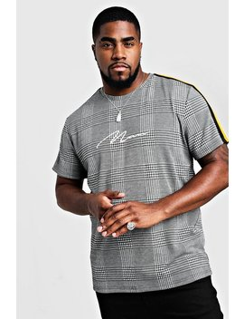 Big & Tall Check Man Signature T Shirt With Tape by Boohoo