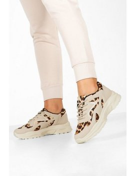 Leopard Panel Chunky Sole Trainers by Boohoo
