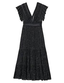 Metallic Flutter Sleeve Tiered Dress by Sandro