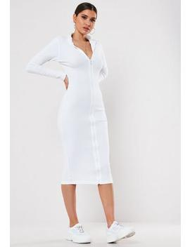 Black Rib Chunky Zip High Neck Midi Dress by Missguided