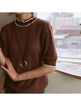 Leelin   Frilled Neck Contrast Trim Knit Top by Leelin
