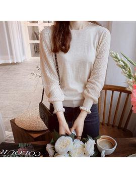 Leelin   Round Neck Lace Sleeve Knit Top by Leelin
