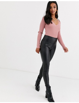 Missguided Petite Knitted Bodysuit With Plunge V Neck In Rose by Missguided's