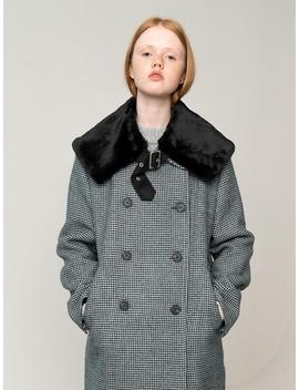 Faux Fur Collar Cape Black by Rocket X Lunch