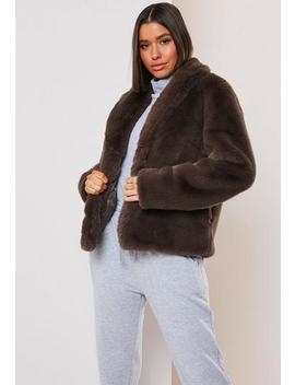 Petite Brown Faux Fur Shawl Collar Coat by Missguided