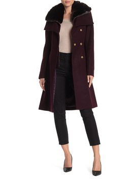 Faux Fur Collar Belted Wool Blend Coat by French Connection