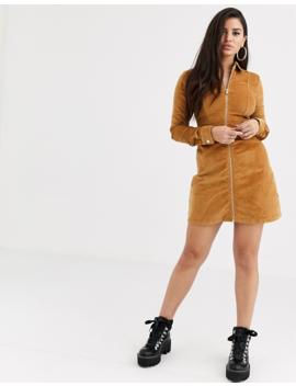 Noisy May Petite Zip Through Cord Mini Dress by Noisy May