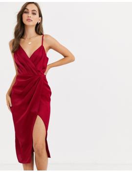 Little Mistress Satin Wrap Dress In Ruby by Little Mistress'