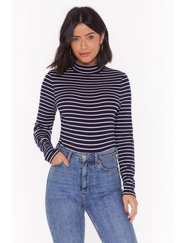 Walk Stripe In Ribbed High Neck Bodysuit by Nasty Gal