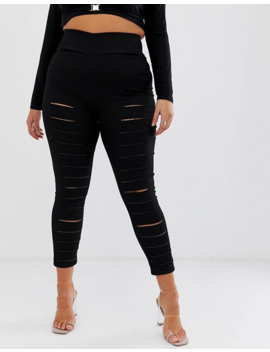 Asos Design Curve Pull On Jegging In Clean Black With Slash Rip Detail by Asos Design