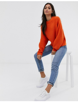 Asos Design Petite Fluffy Sweater With Balloon Sleeve by Asos Design