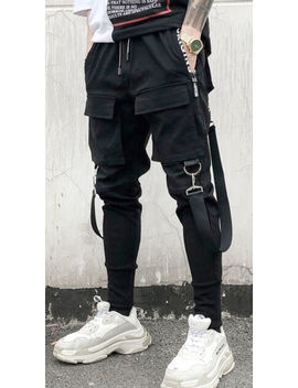 Mens Buckle Strap Street Cargo Baggy Jogger Jersey Sweat Trousers Elastic Waist by Ebay Seller