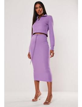 Purple Drawstring Midi Skirt by Missguided