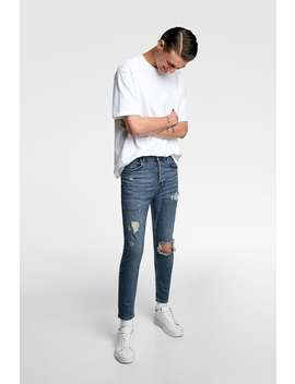 Jeans Skinny Rotos Rotos Jeans Hombre by Zara