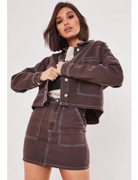 Chocolate Co Ord Utility Cropped Denim Shirt by Missguided