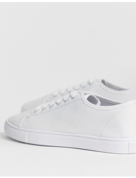 Asos Design Wide Fit Sneakers In White Canvas by Asos Design