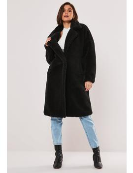 Black Oversized Teddy Coat by Missguided