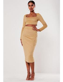 Mocha Faux Suede Square Neck Top And Midi Skirt Co Ord Set by Missguided