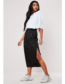Black Satin Midi Slip Skirt by Missguided